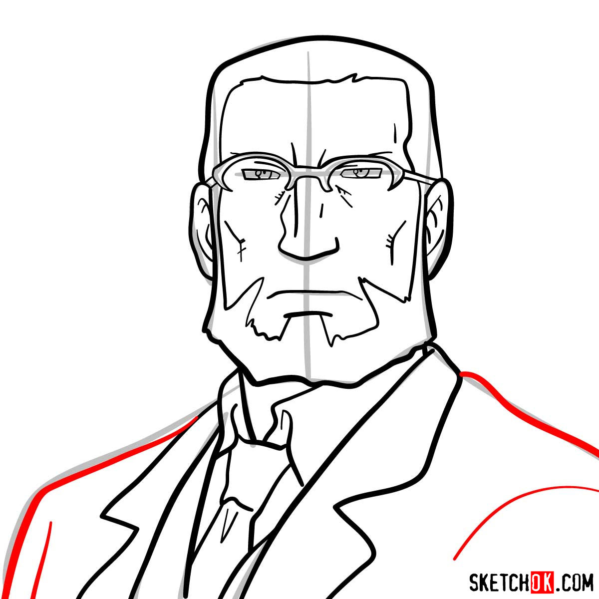 How to draw Van Hohenheim from Fullmetal Alchemist anime - step 09