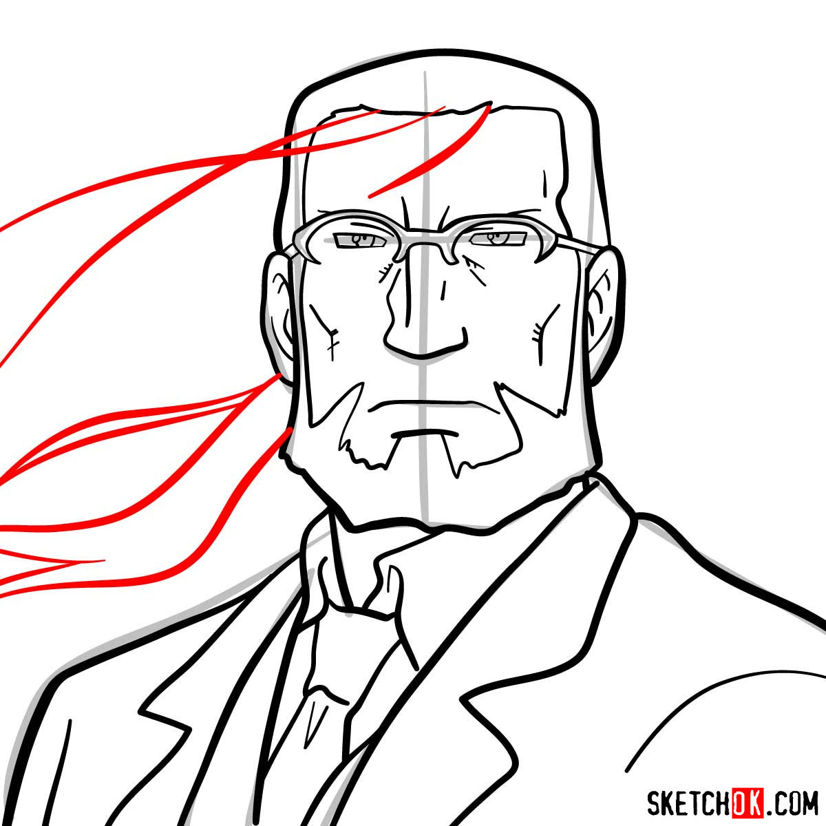 How to draw Van Hohenheim from Fullmetal Alchemist anime - step 10