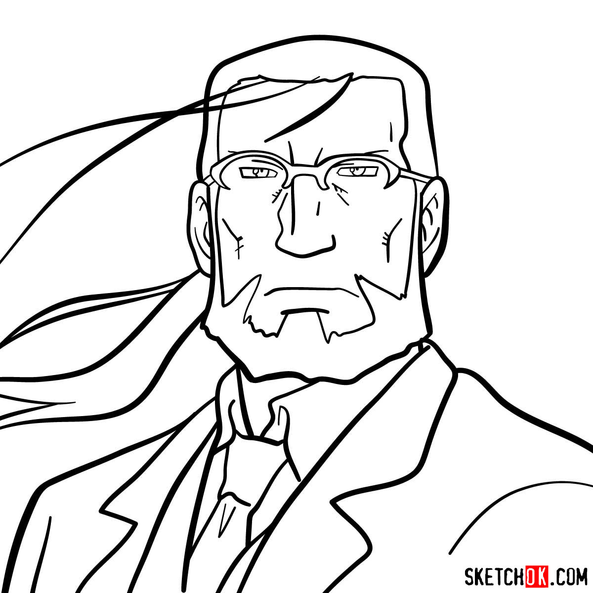 How to draw Van Hohenheim from Fullmetal Alchemist anime - coloring