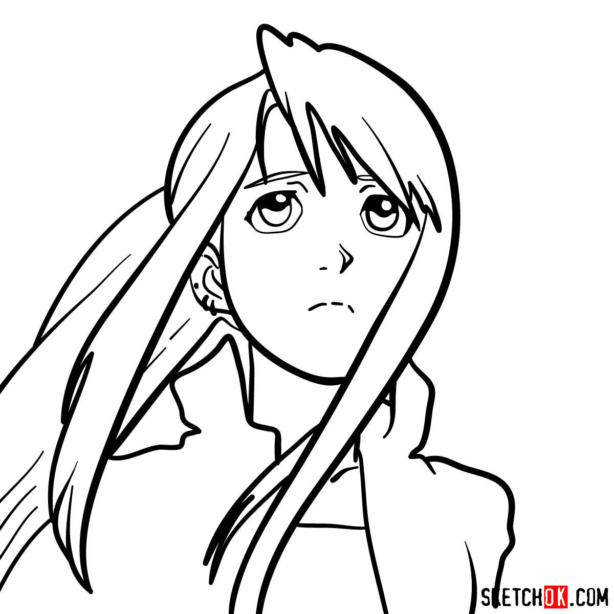 How to draw Winry Rockbell's face