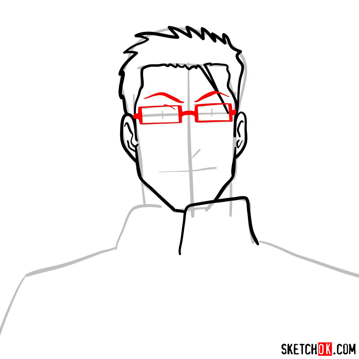 How to draw Maes Hughes from Fullmetal Alchemist anime - step 06