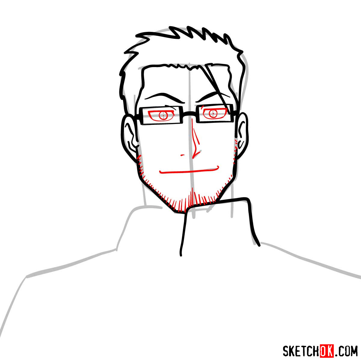 How to draw Maes Hughes from Fullmetal Alchemist anime - step 07