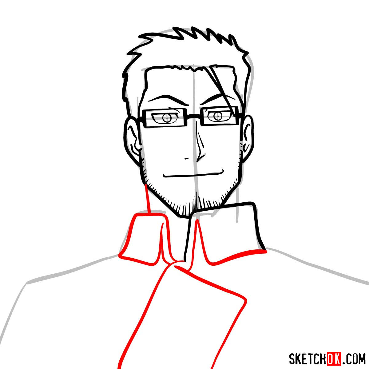 How to draw Maes Hughes from Fullmetal Alchemist anime - step 08