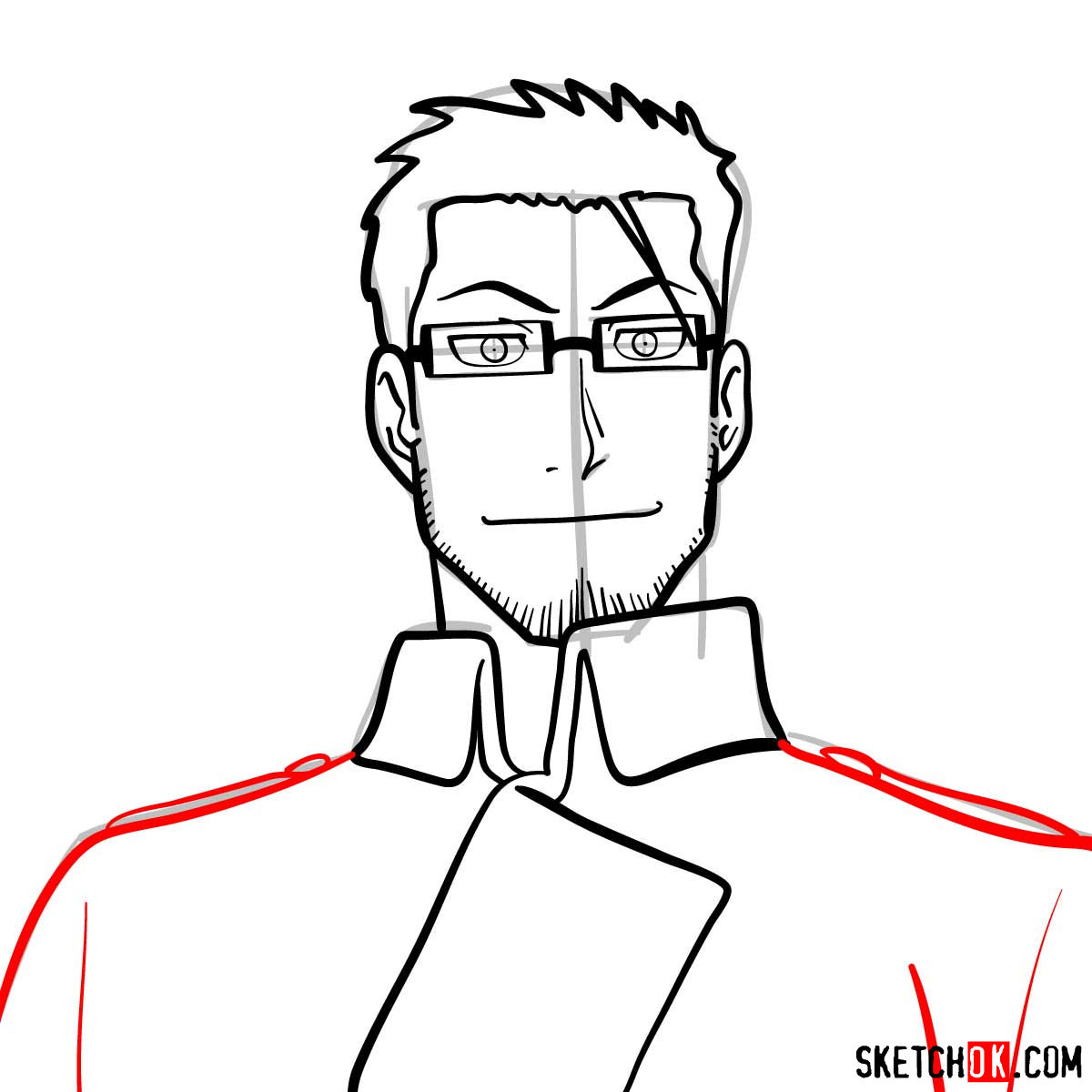 How to draw Maes Hughes from Fullmetal Alchemist anime - step 09