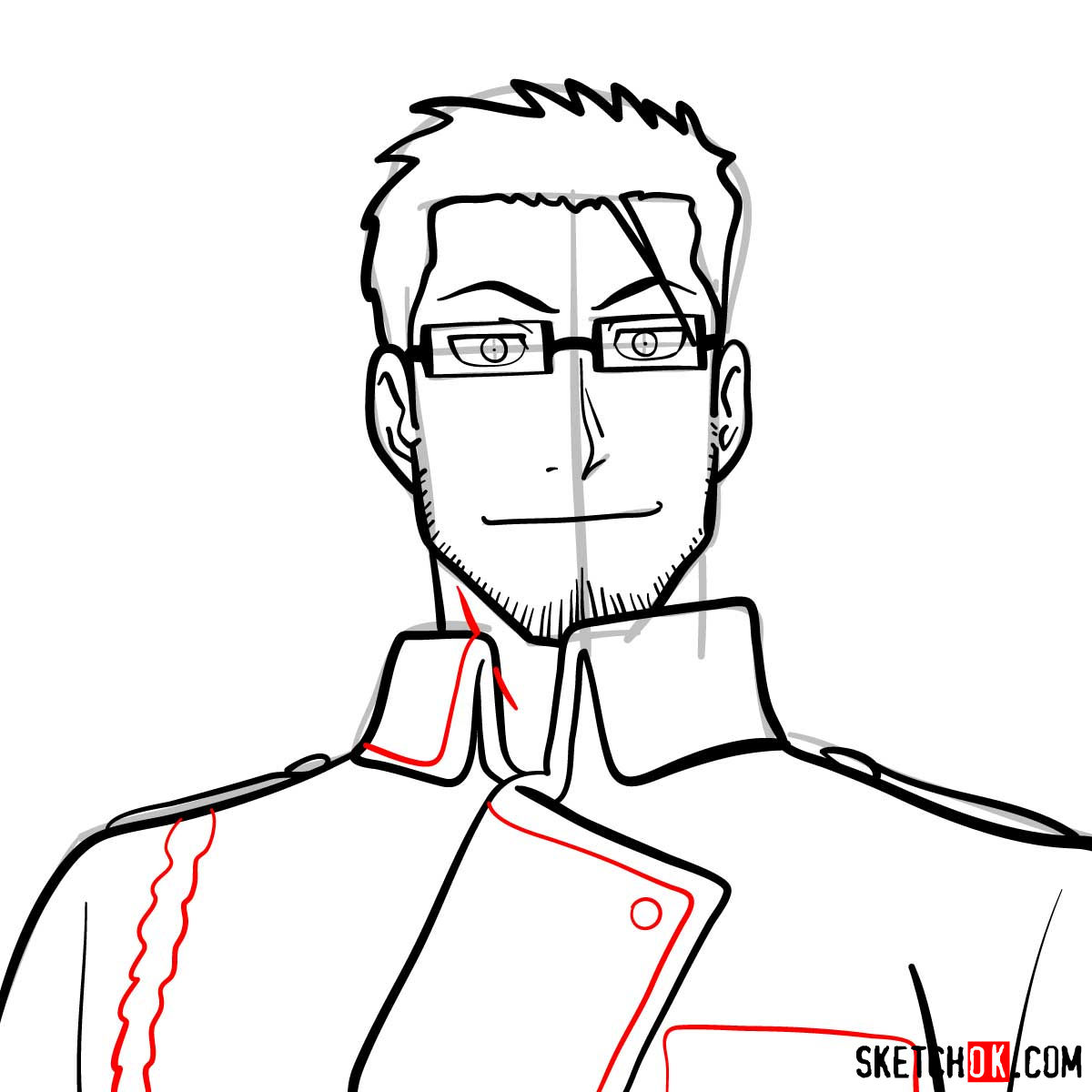 How to draw Maes Hughes from Fullmetal Alchemist anime - step 10