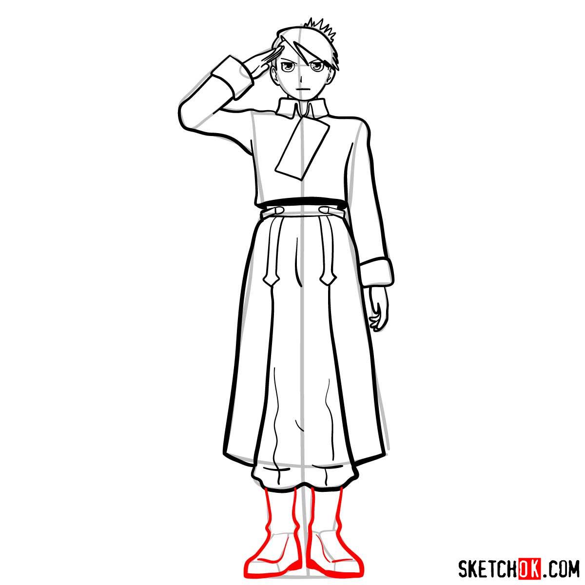 How to draw Riza Hawkeye from Fullmetal Alchemist anime - step 11