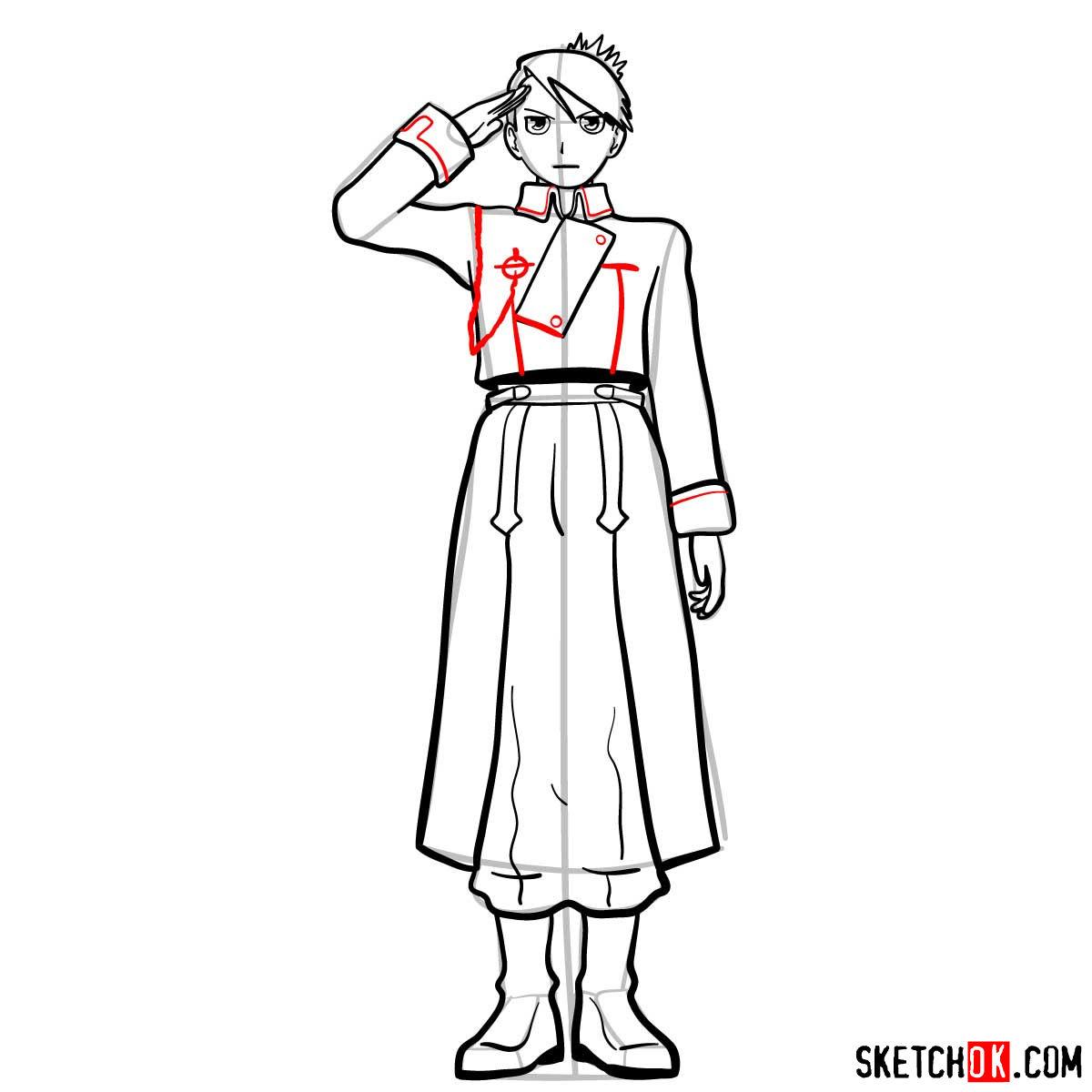 How to draw Riza Hawkeye from Fullmetal Alchemist anime - step 12