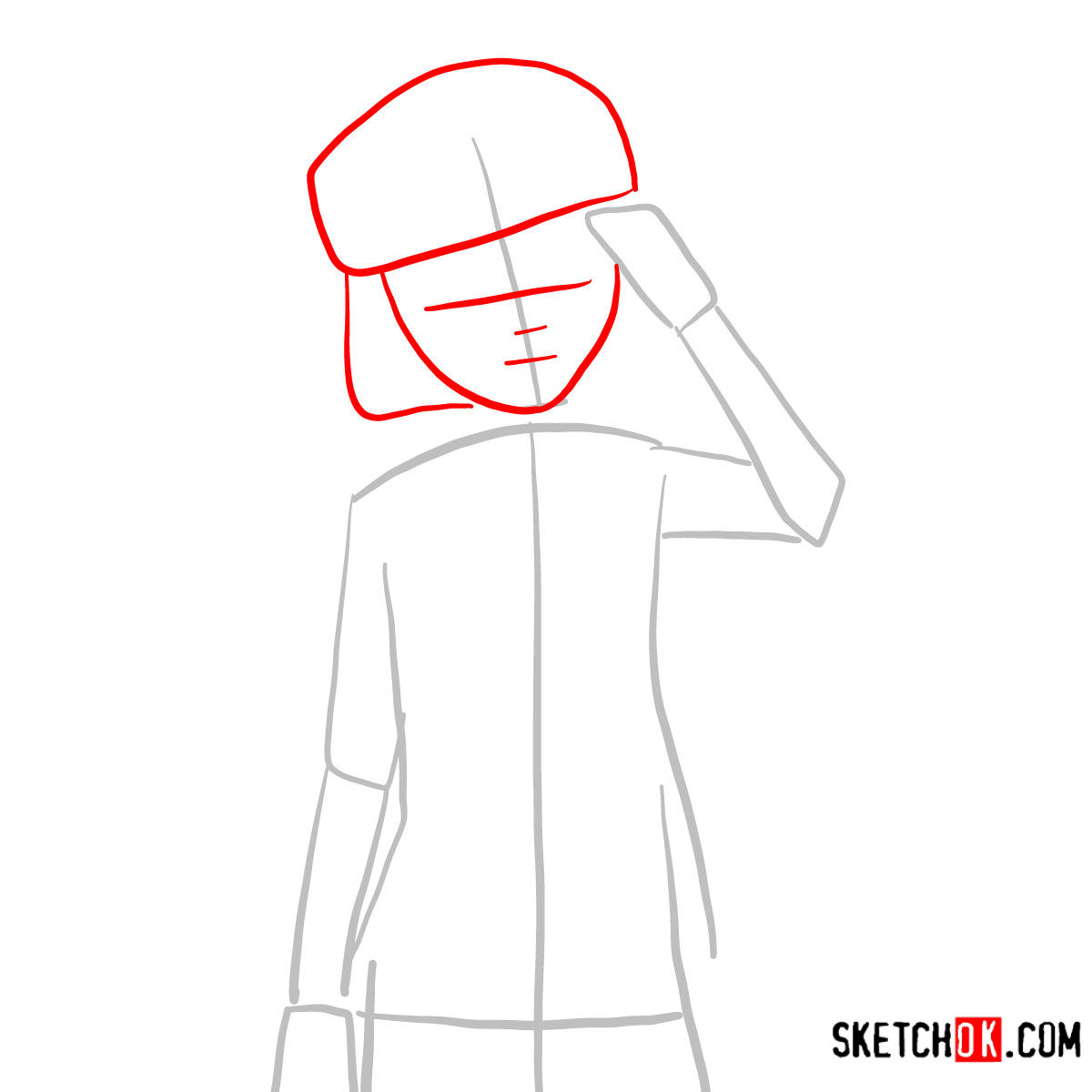 How to draw Tet   No Game No Life - step 02