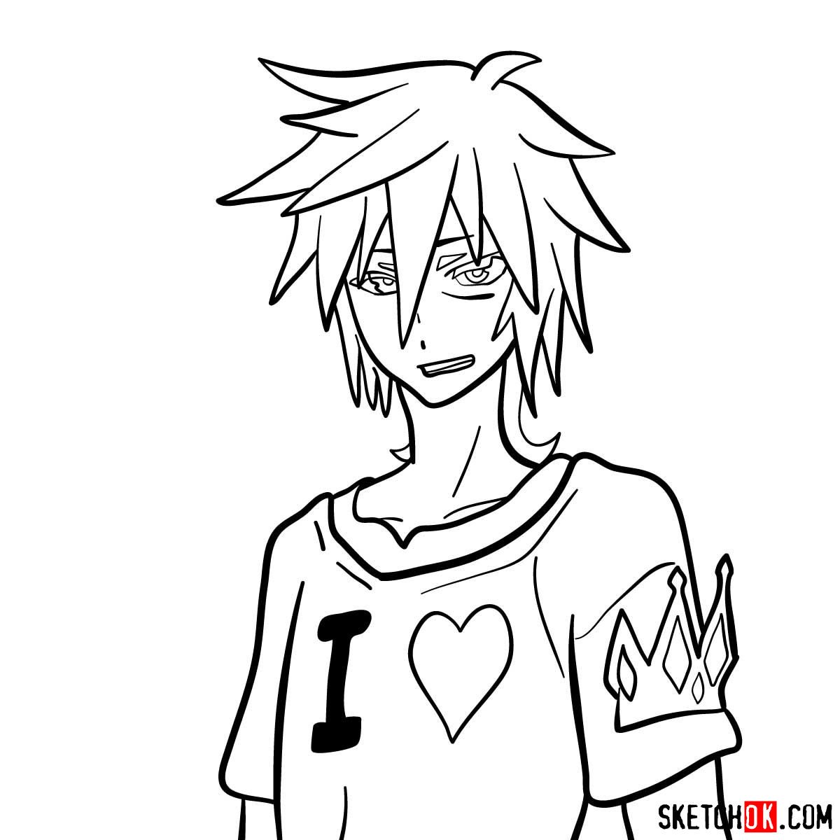 How to draw Sora from No Game No Life anime