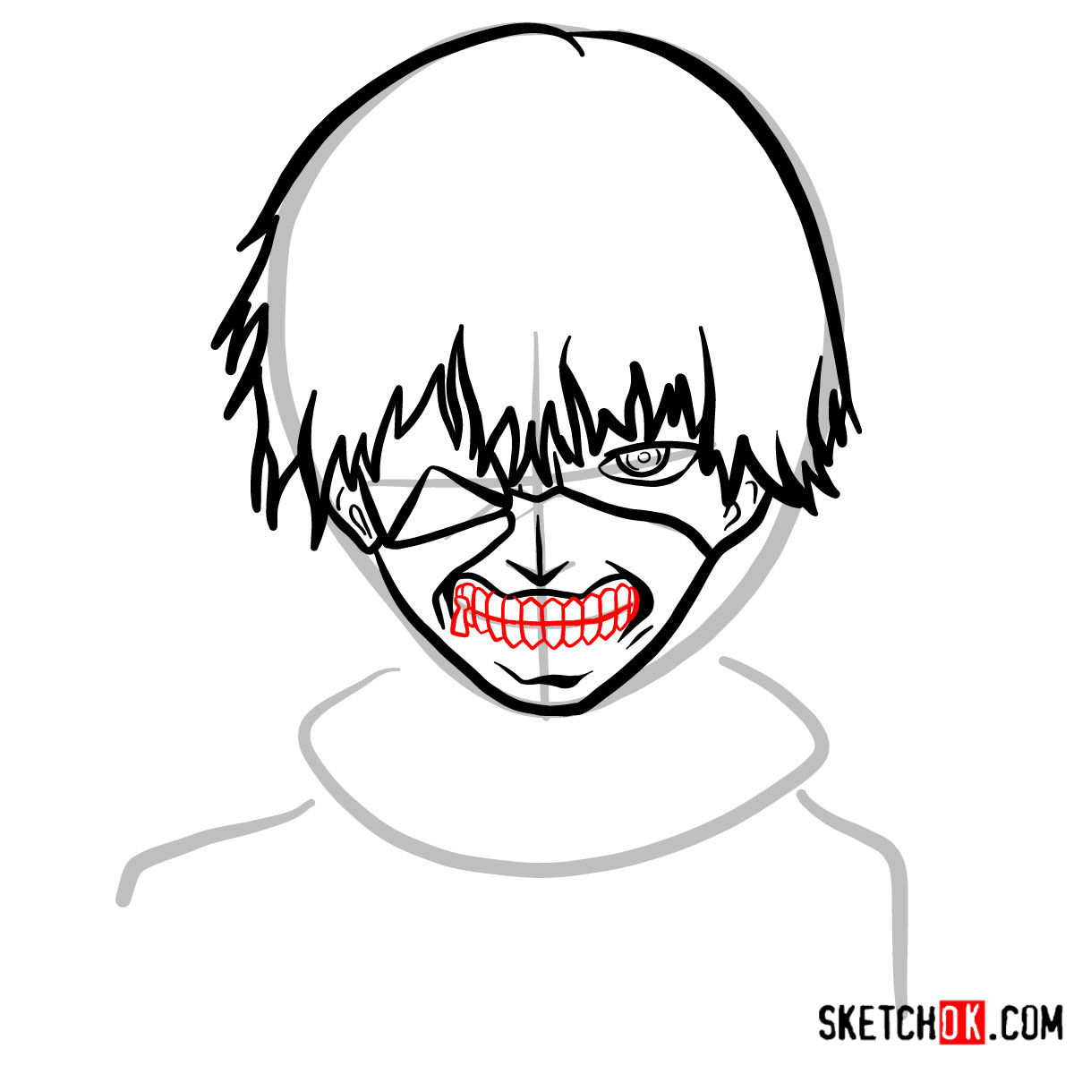 How to draw Ken Kaneki ghoul in a mask | Tokyo Ghoul - step 08
