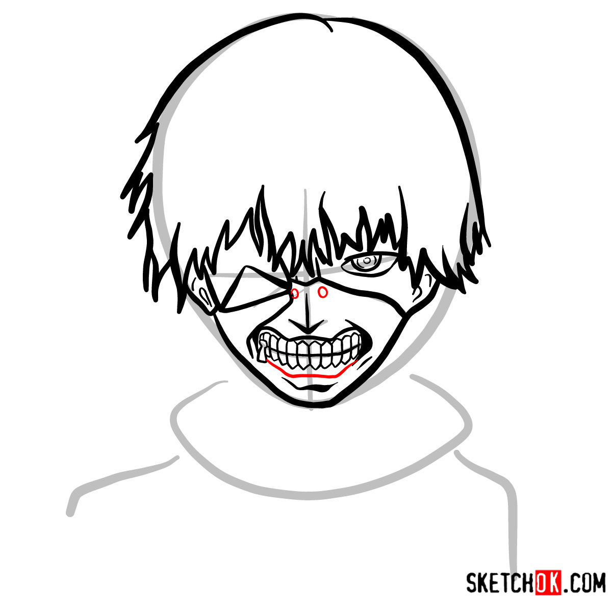 How to draw Ken Kaneki ghoul in a mask | Tokyo Ghoul - step 09