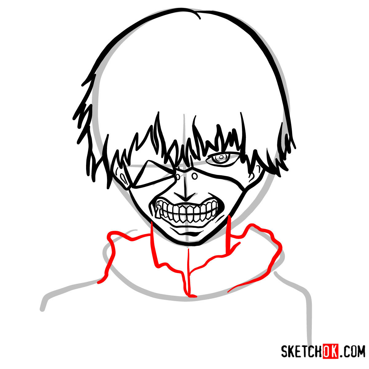 How to draw Ken Kaneki ghoul in a mask | Tokyo Ghoul - step 10