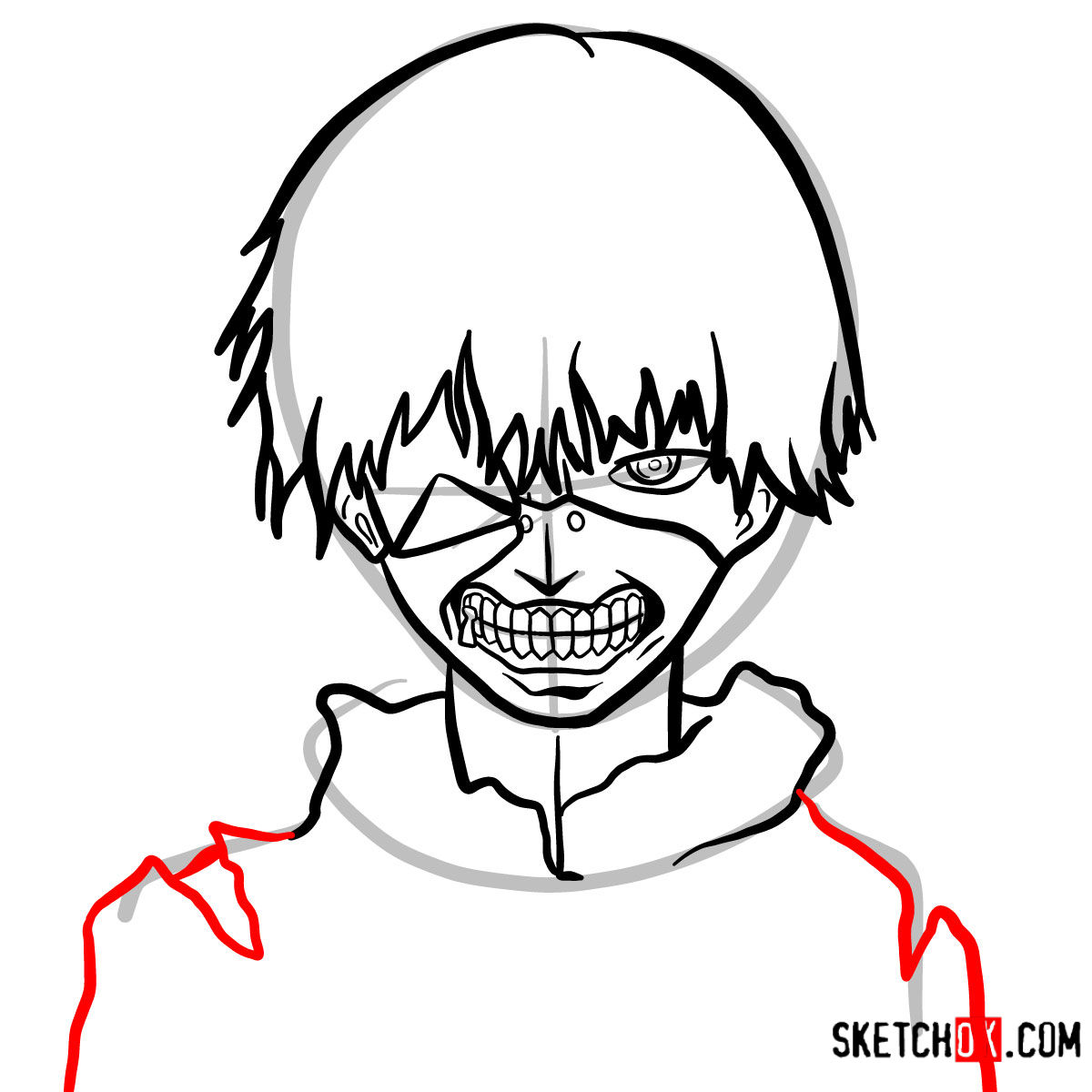 How to draw Ken Kaneki ghoul in a mask | Tokyo Ghoul - step 11