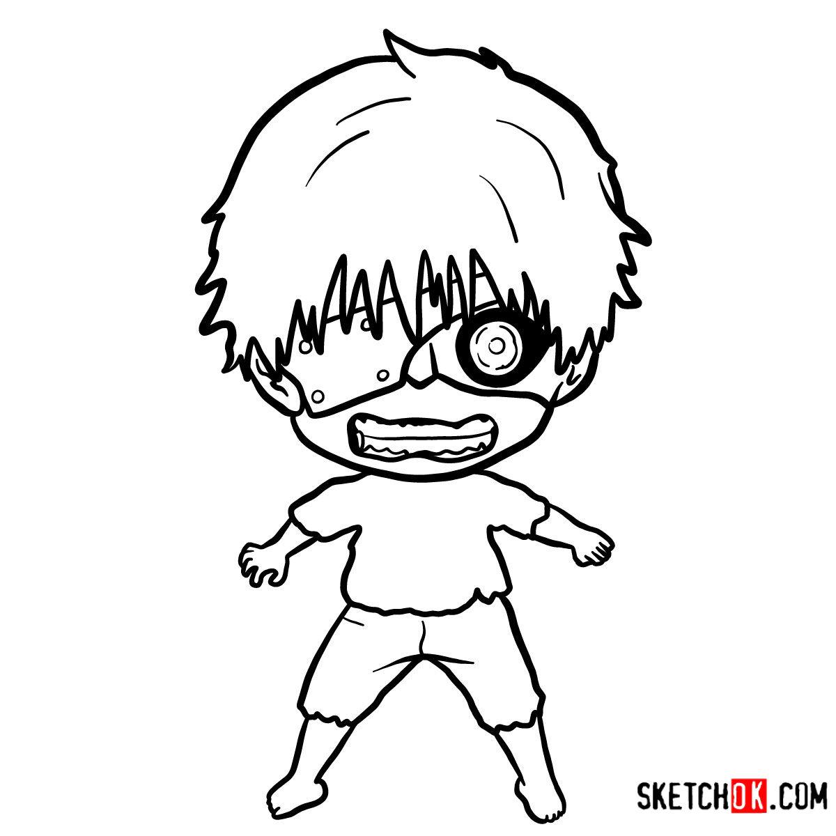 How to draw Ken Kaneki chibi | Tokyo Ghoul