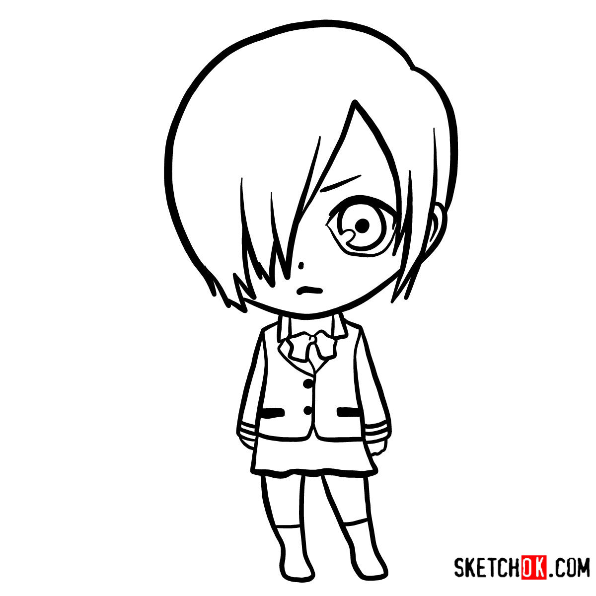 How to draw Touka Kirishima chibi