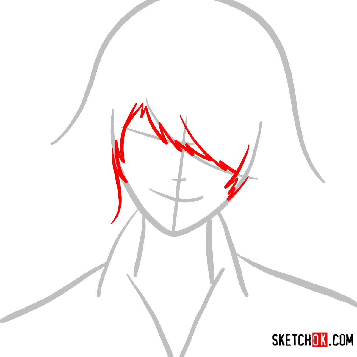 How to draw Juuzou Suzuya's face | Tokyo Ghoul - step 02