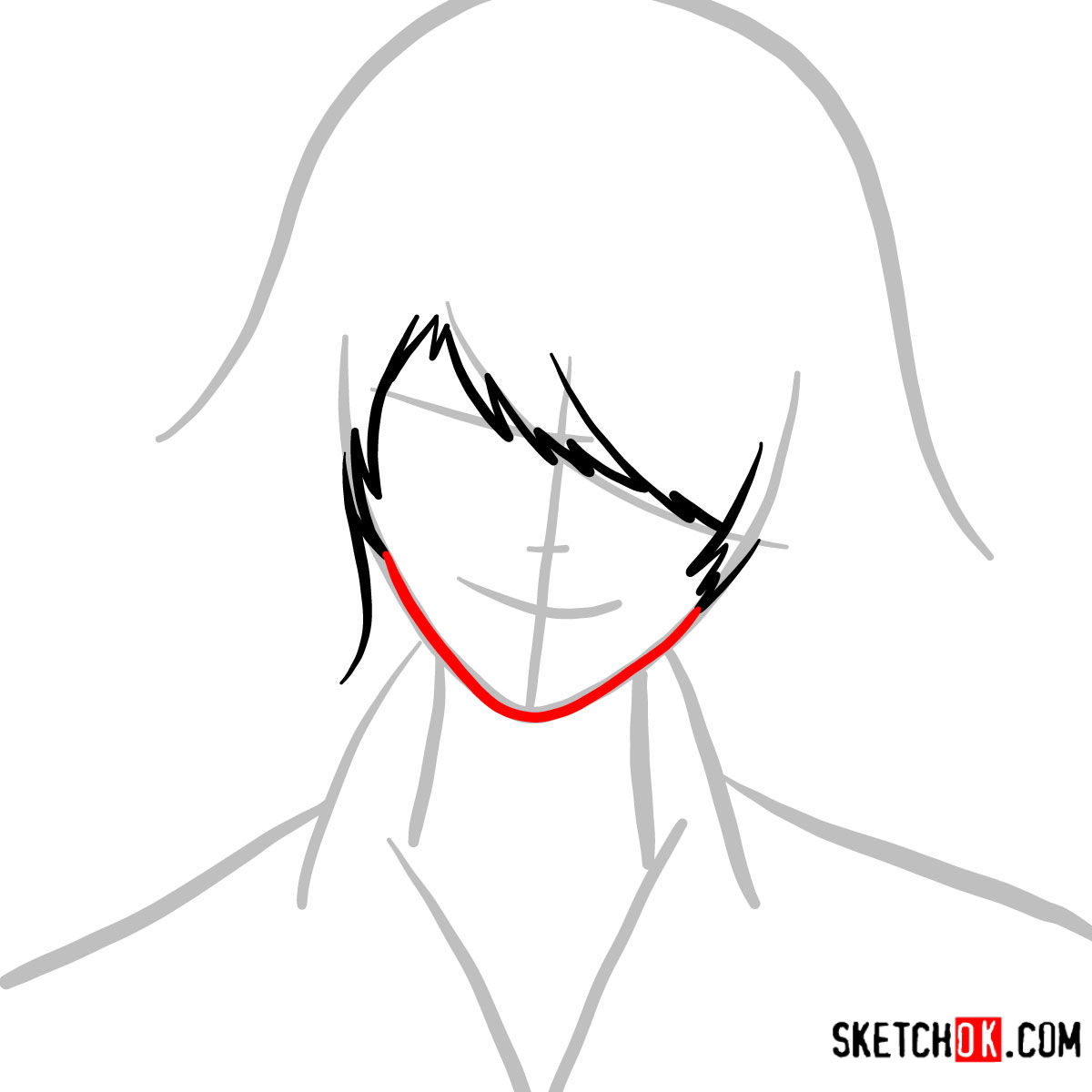 How to draw Juuzou Suzuya's face | Tokyo Ghoul - step 03