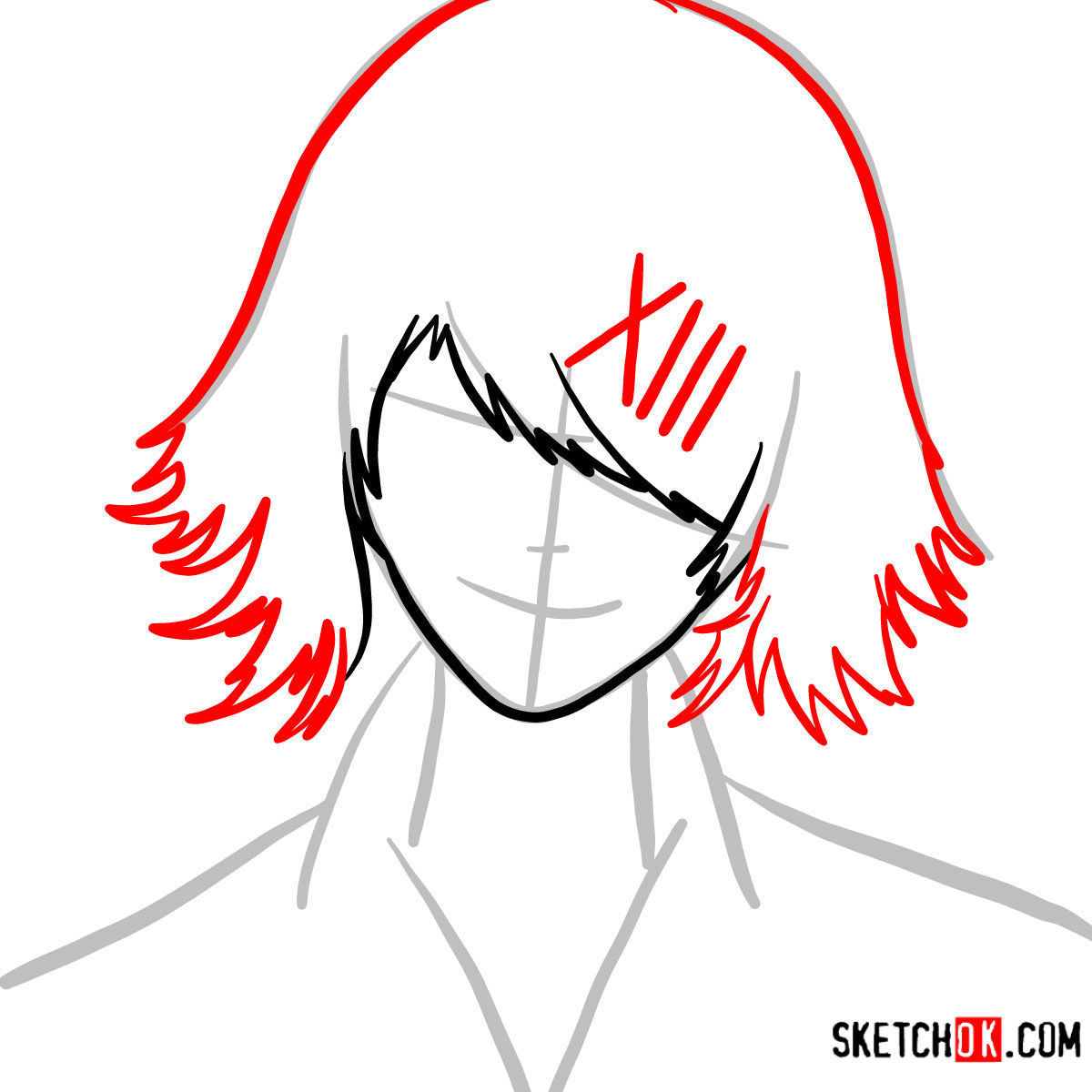 How to draw Juuzou Suzuya's face | Tokyo Ghoul - step 04