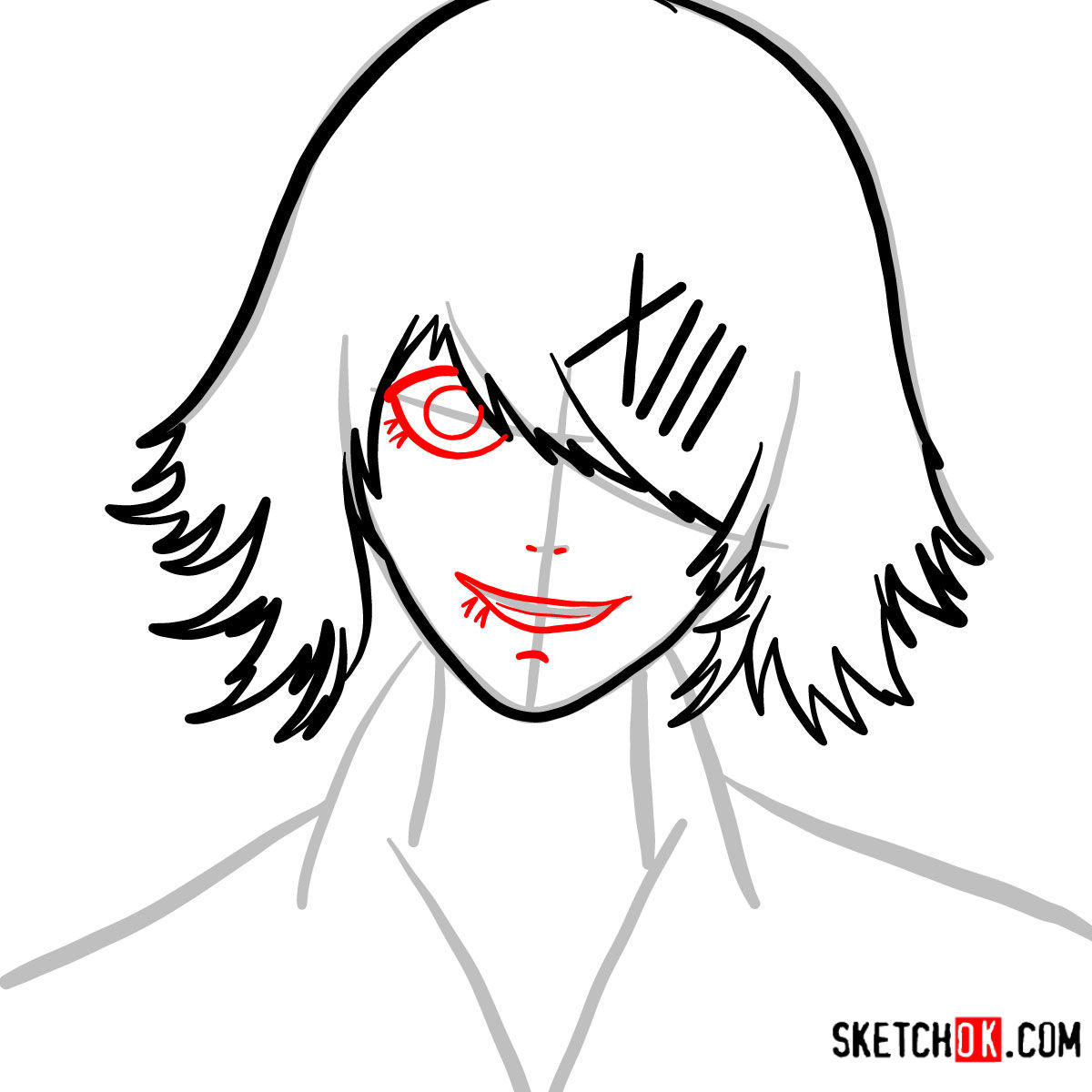 How to draw Juuzou Suzuya's face | Tokyo Ghoul - step 05