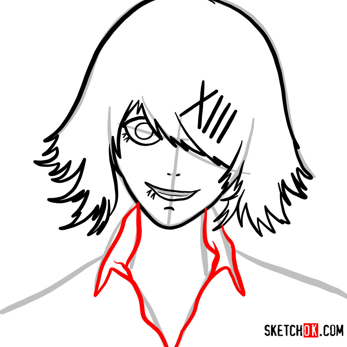 How to draw Juuzou Suzuya's face | Tokyo Ghoul - step 06