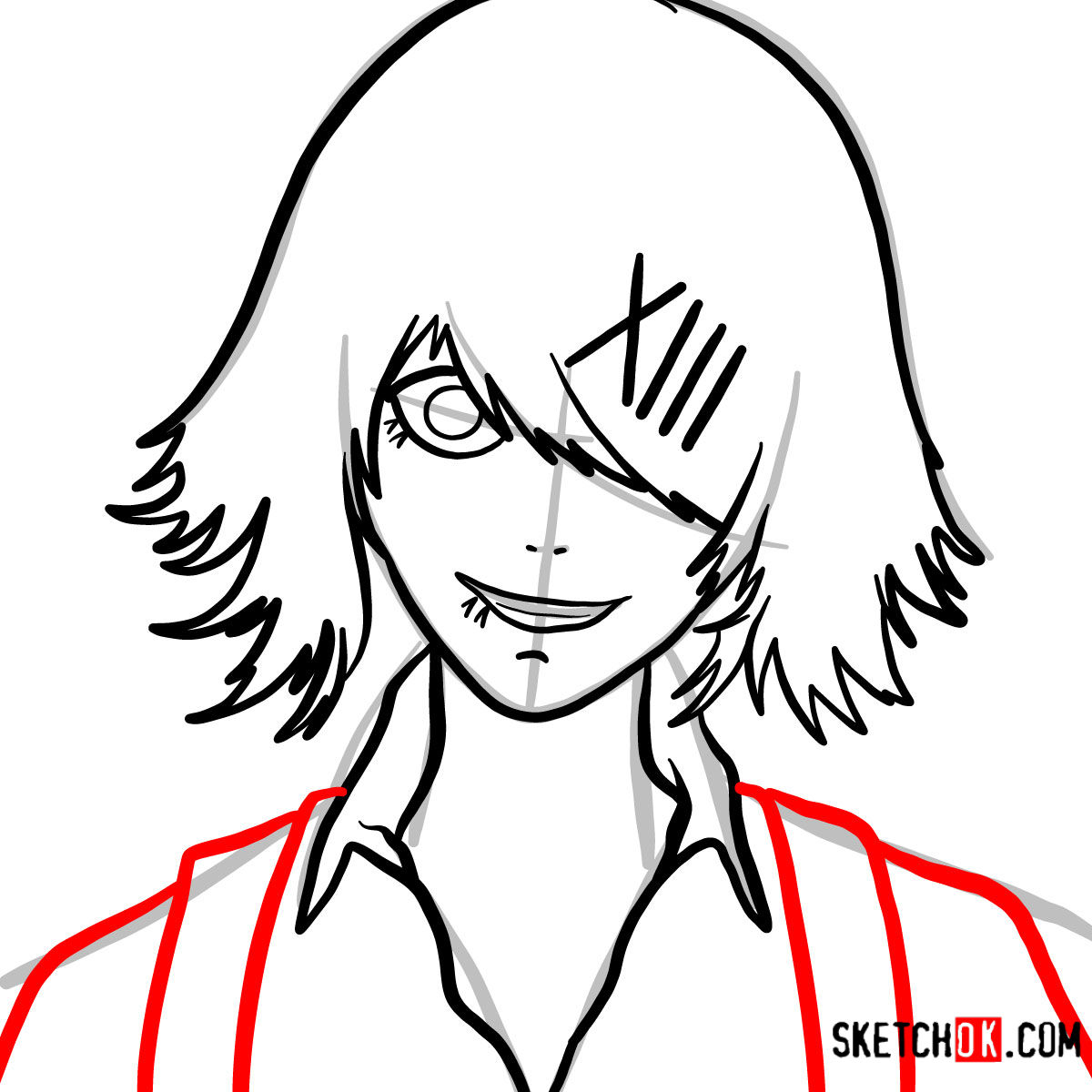 How to draw Juuzou Suzuya's face | Tokyo Ghoul - step 07