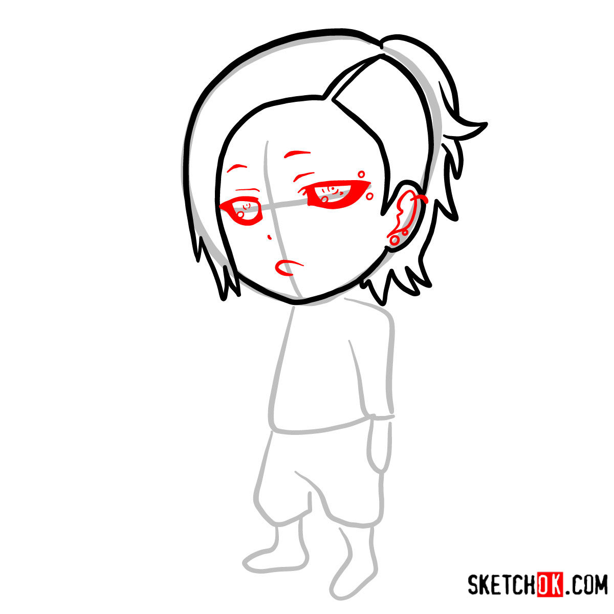 How to draw Uta chibi | Tokyo Ghoul - step 04