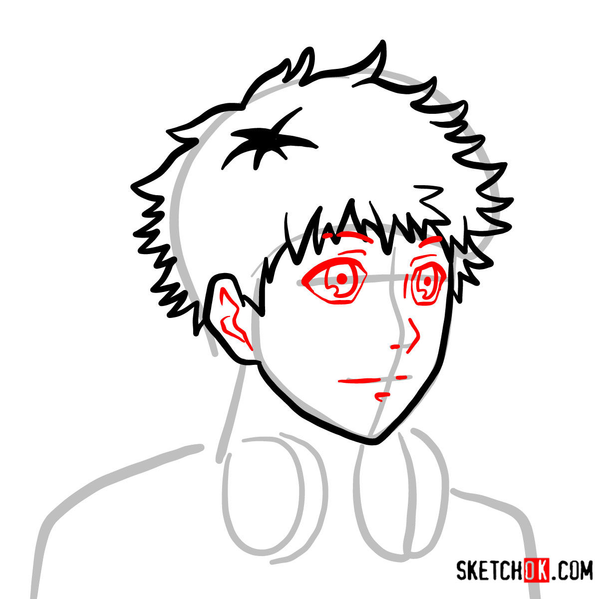 How to draw Hide Nagachika's face | Tokyo Ghoul - step 05