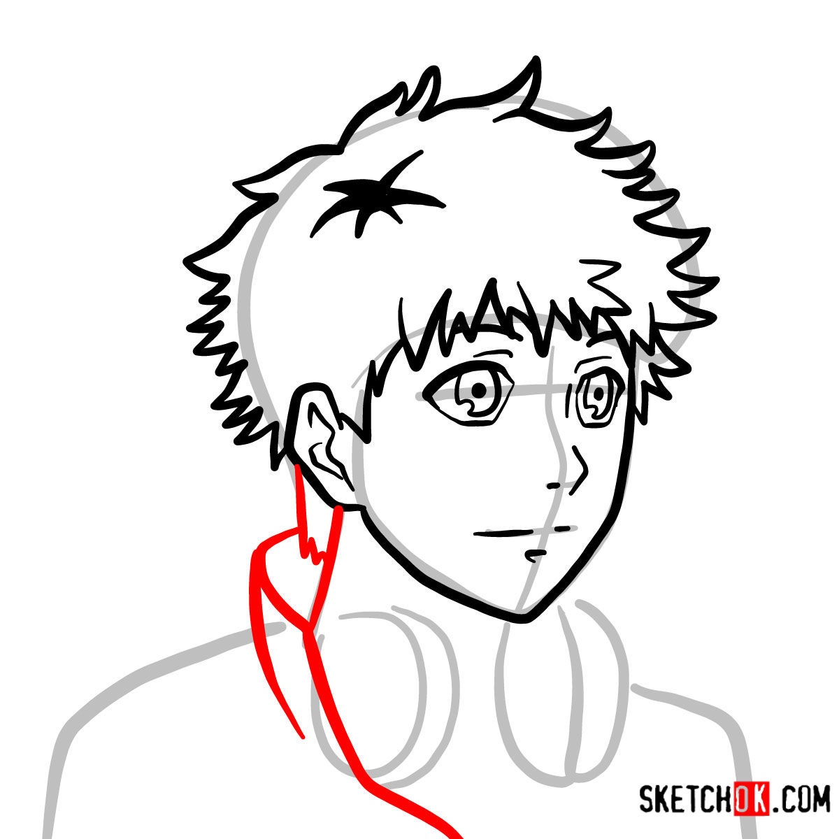 How to draw Hide Nagachika's face | Tokyo Ghoul - step 06