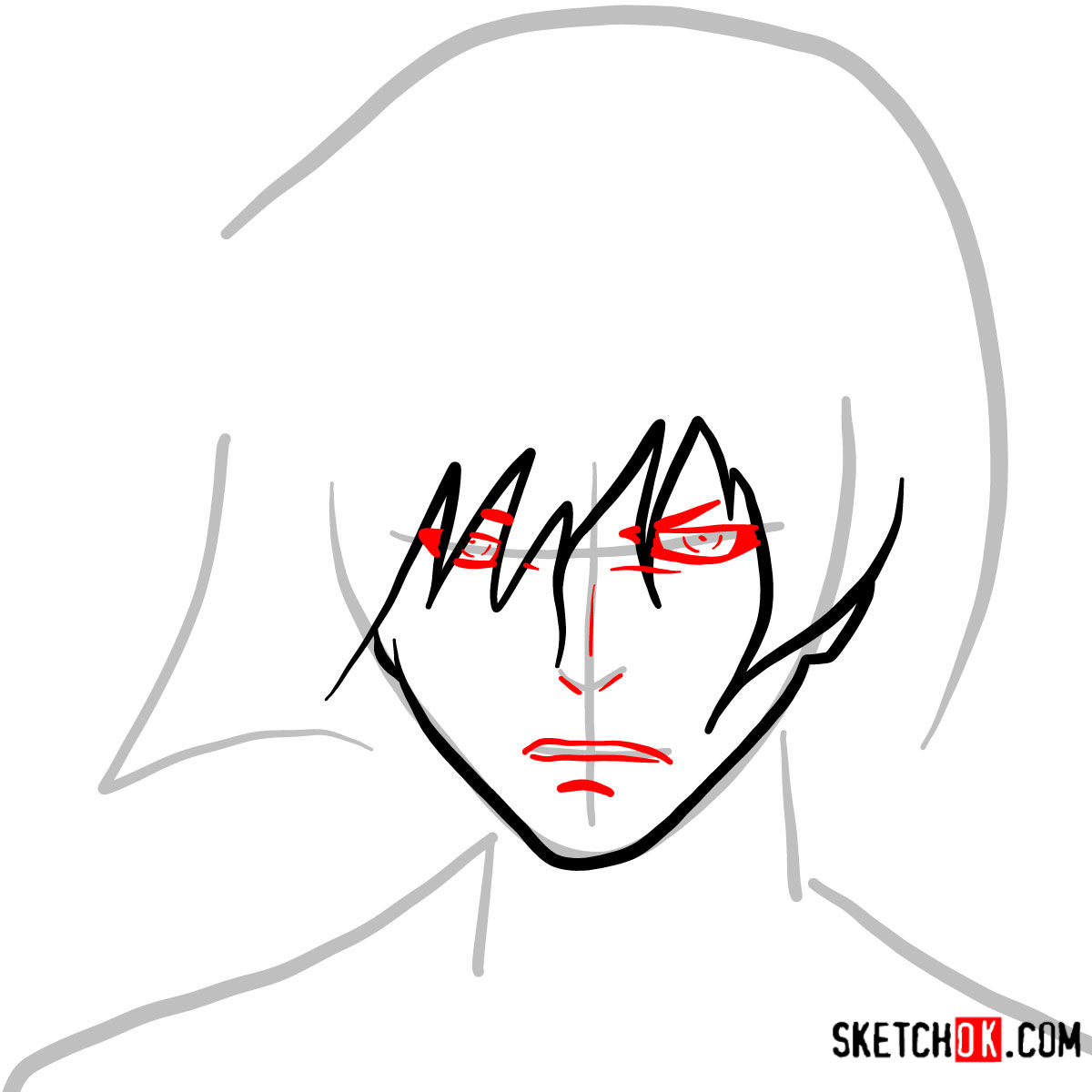 How to draw Ayato Kirishima's face | Tokyo Ghoul - step 03