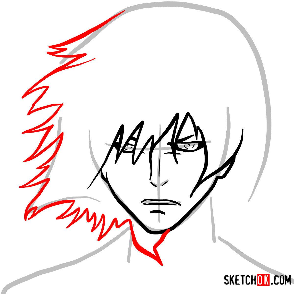 How to draw Ayato Kirishima's face | Tokyo Ghoul - step 04