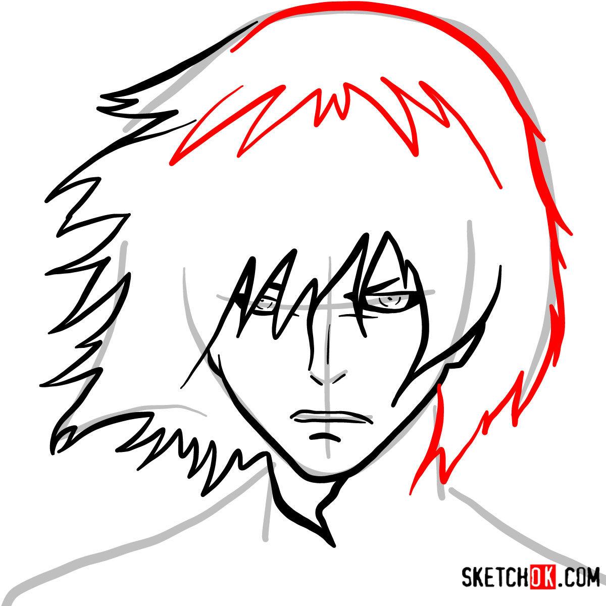 How to draw Ayato Kirishima's face | Tokyo Ghoul - step 05