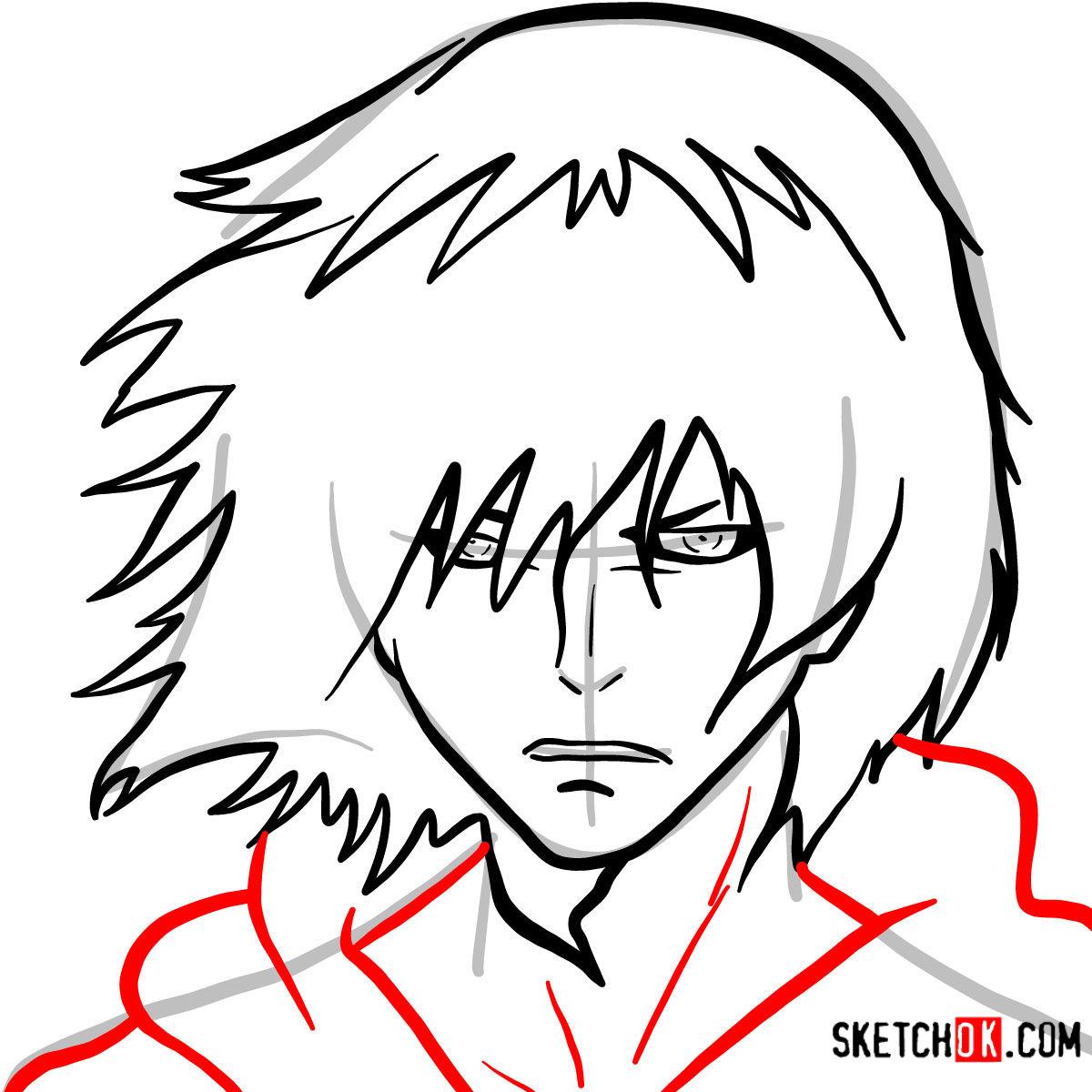 How to draw Ayato Kirishima's face | Tokyo Ghoul - step 06