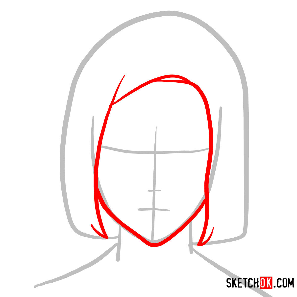 How to draw Akira Mado's face   Tokyo Ghoul - step 02