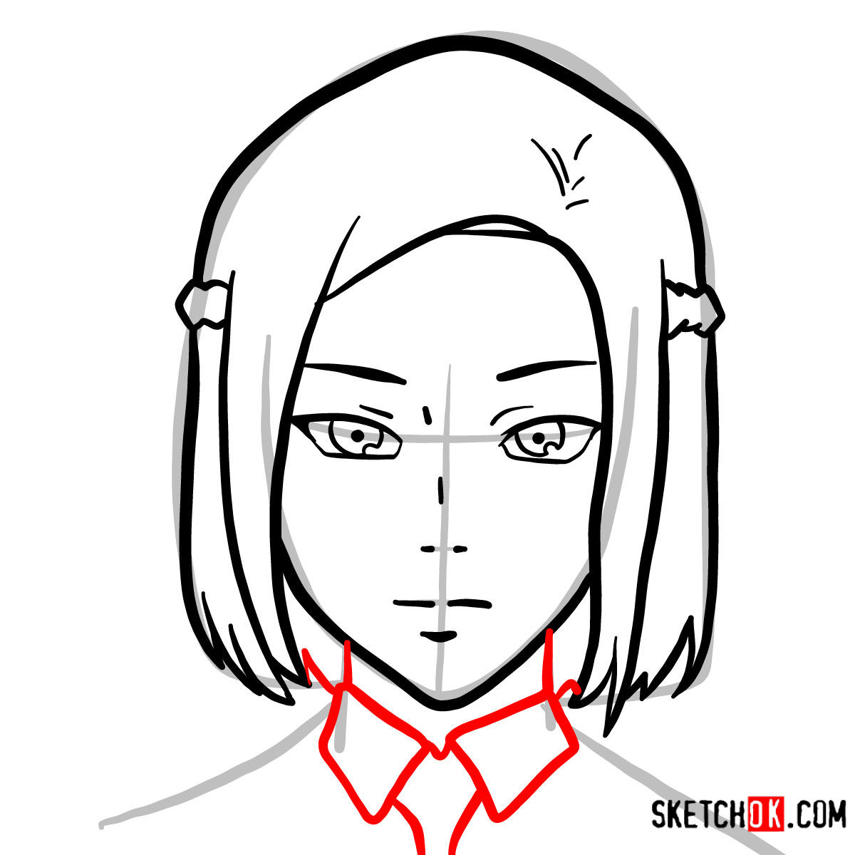 How to draw Akira Mado's face   Tokyo Ghoul - step 05