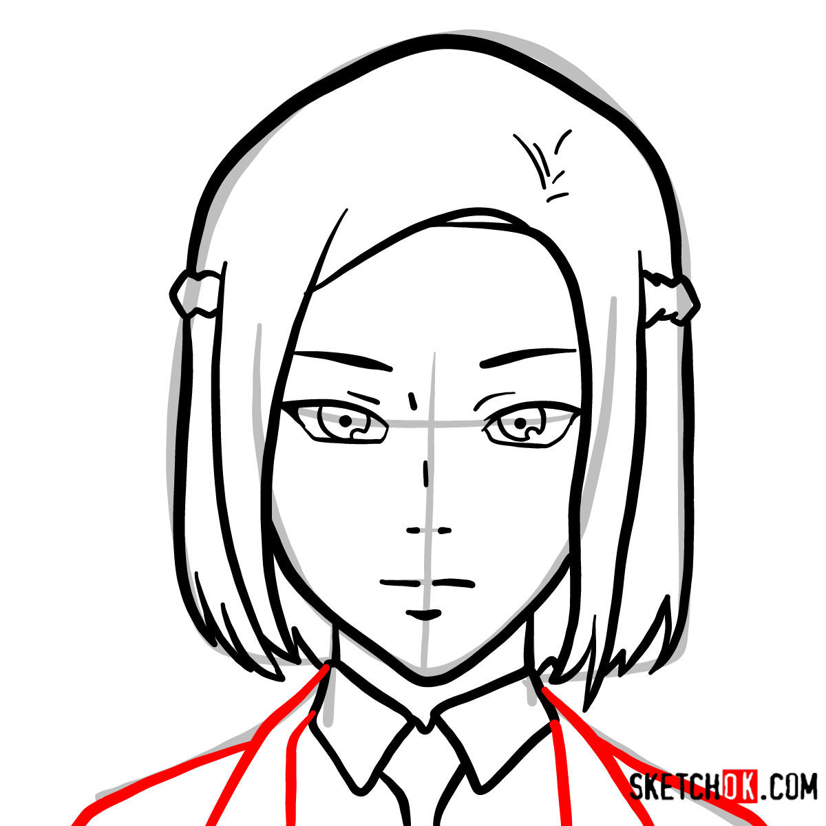 How to draw Akira Mado's face   Tokyo Ghoul - step 06