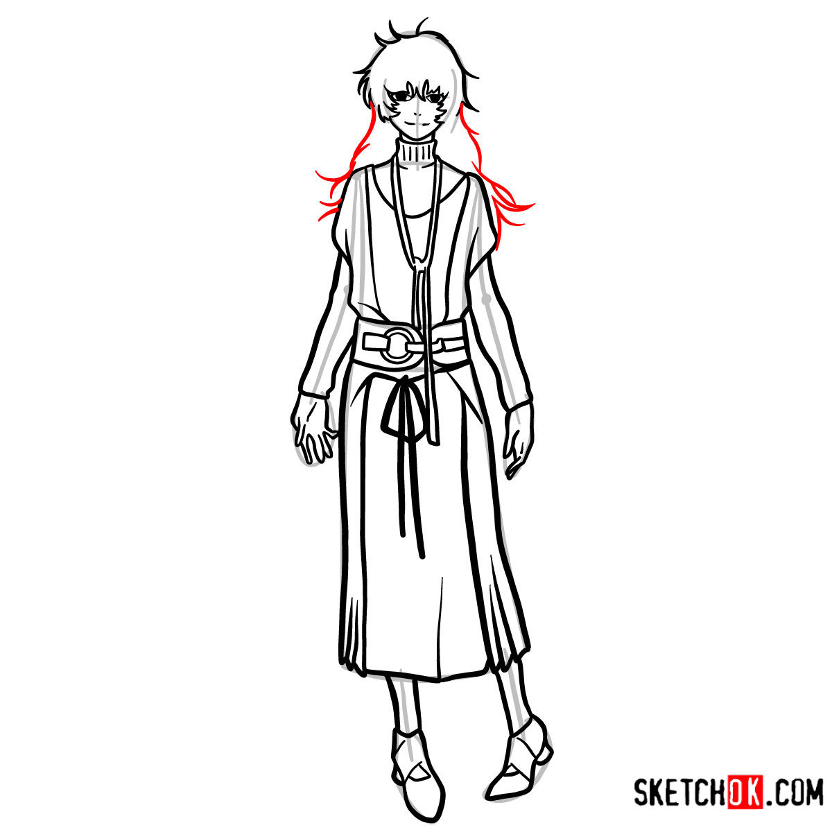 How to draw Eto Yoshimura full growth | Tokyo Ghoul - step 12