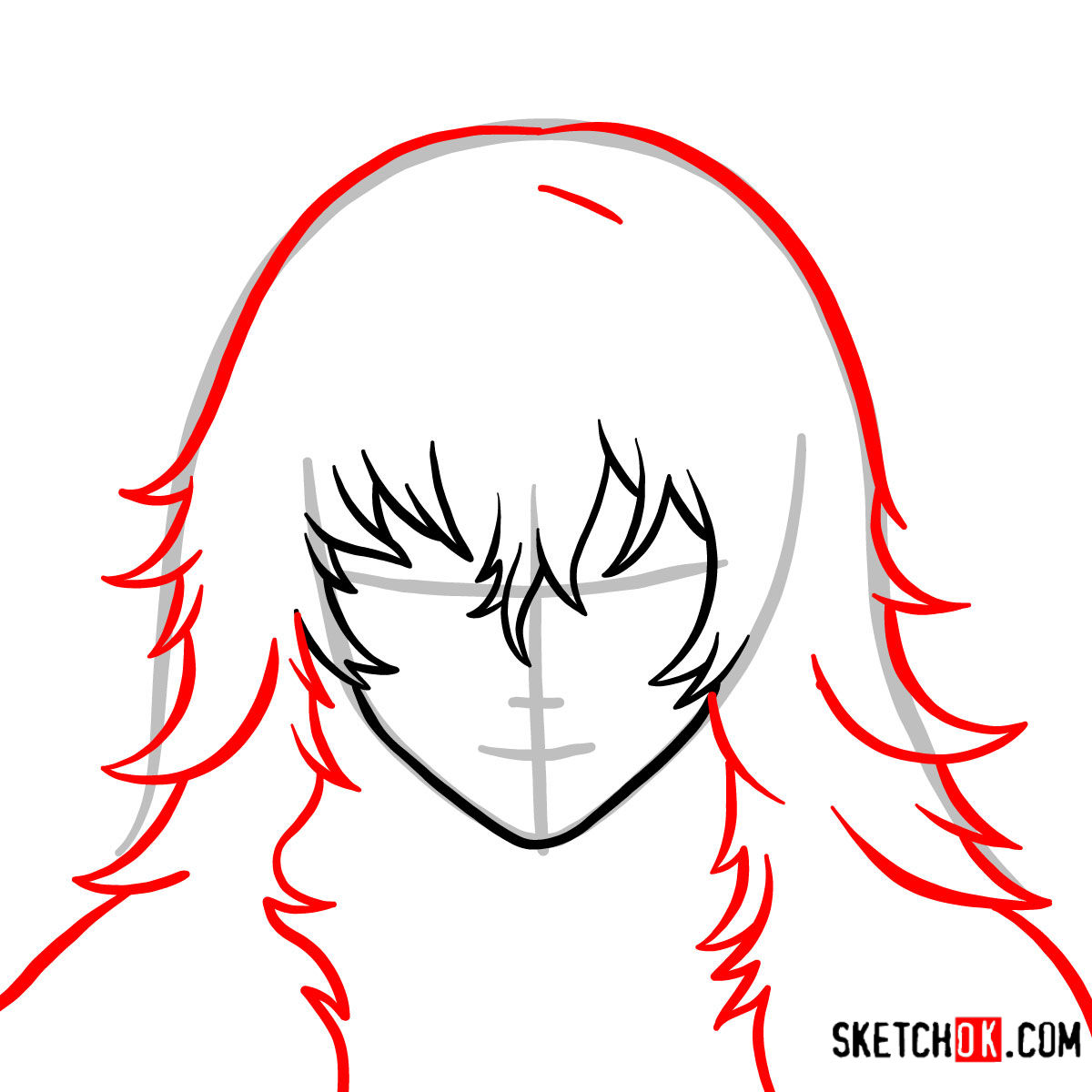 How to draw Eto Yoshimura's face | Tokyo Ghoul - step 03
