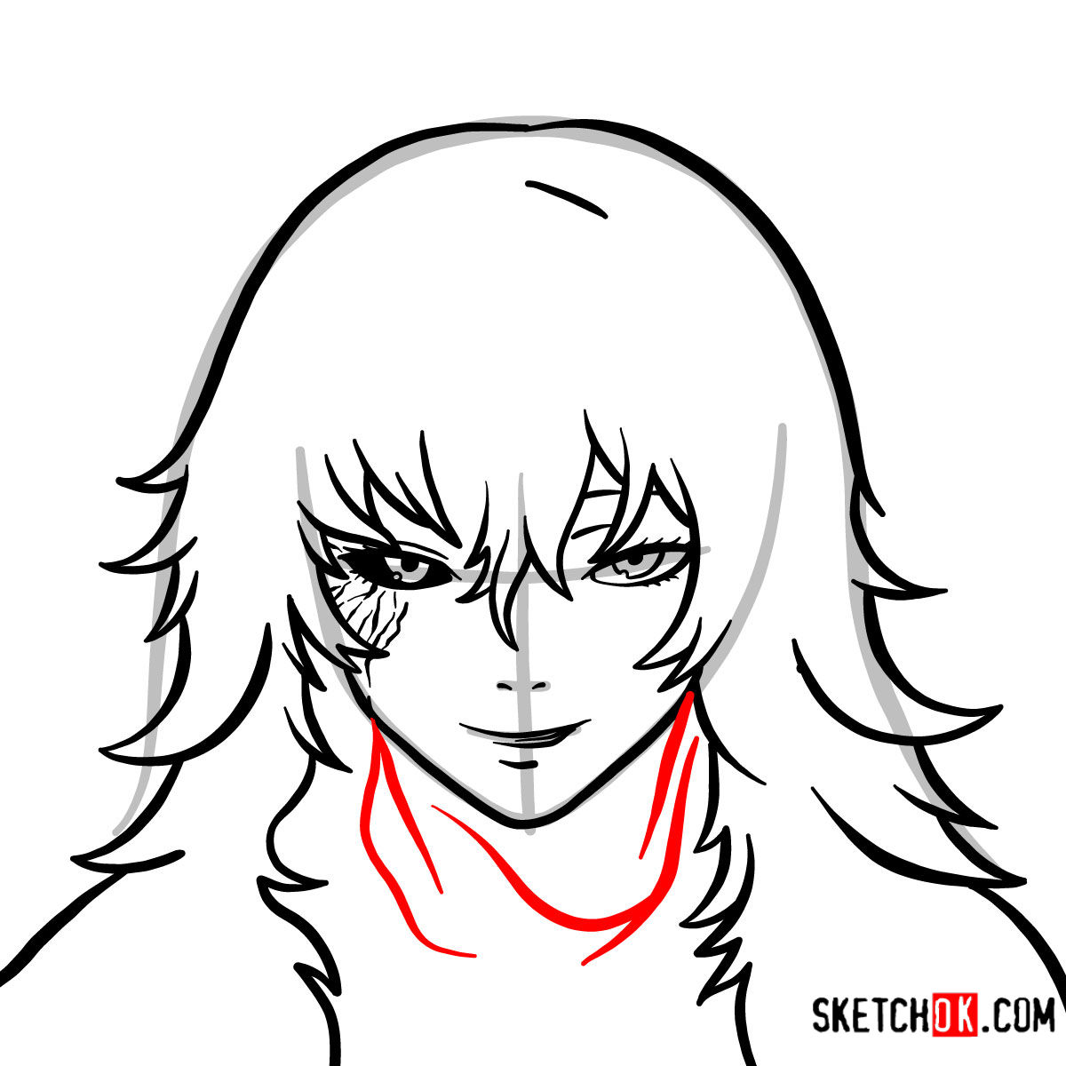 How to draw Eto Yoshimura's face | Tokyo Ghoul - step 06