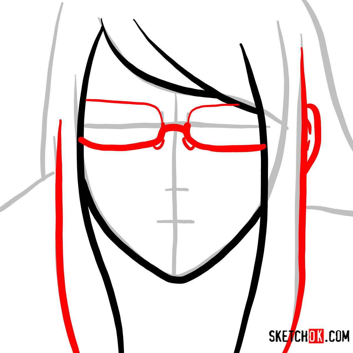 How to draw Rize Kamishiro's face | Tokyo Ghoul - step 03
