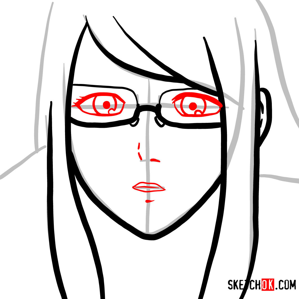 How to draw Rize Kamishiro's face | Tokyo Ghoul - step 04