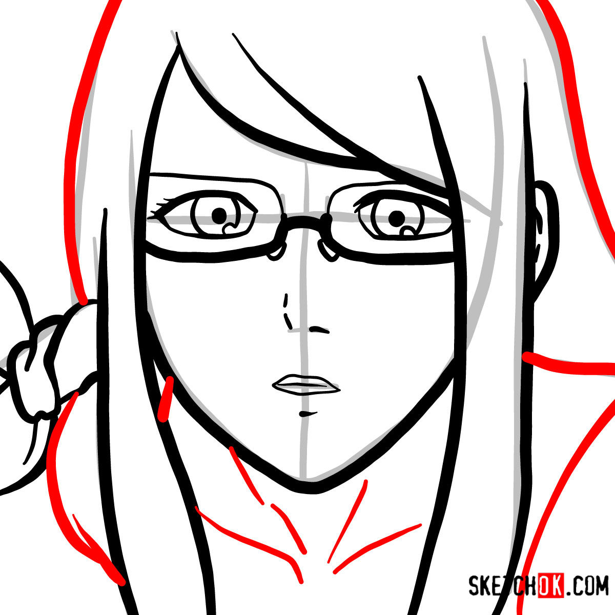 How to draw Rize Kamishiro's face | Tokyo Ghoul - step 06