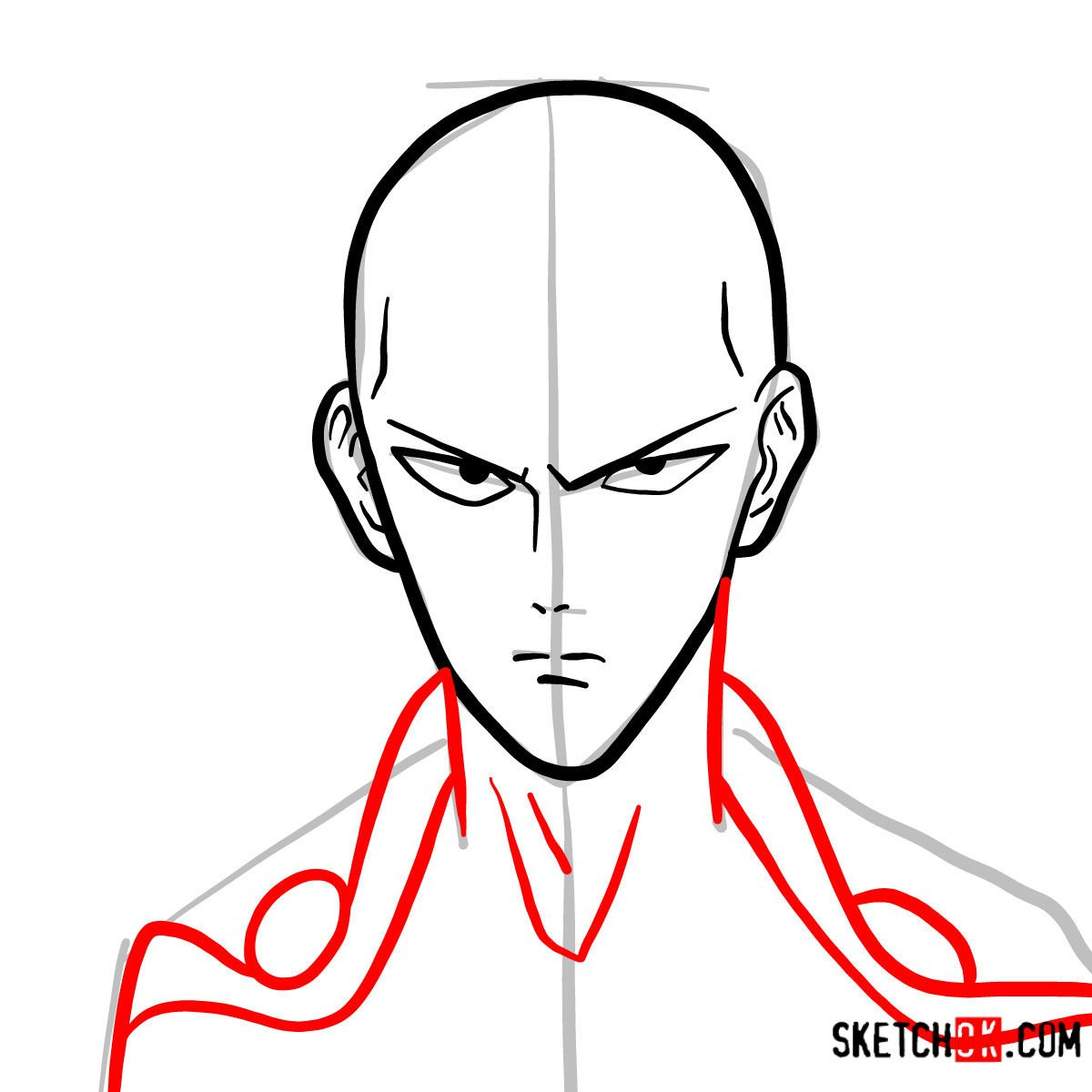 How To Draw Saitama S Face One Punch Man Sketchok Step By Step Drawing Tutorials