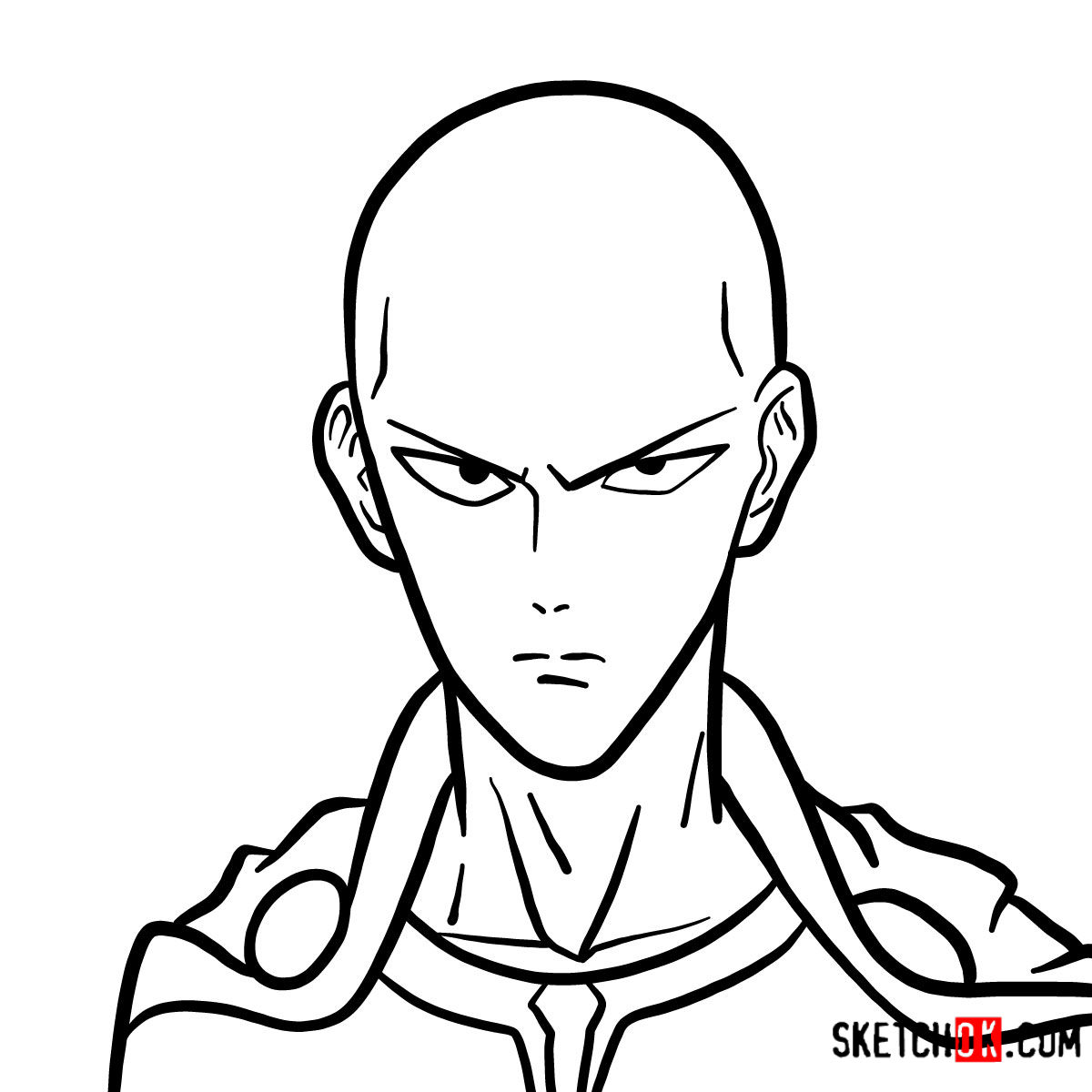 How to draw Saitama's face | One-Punch Man