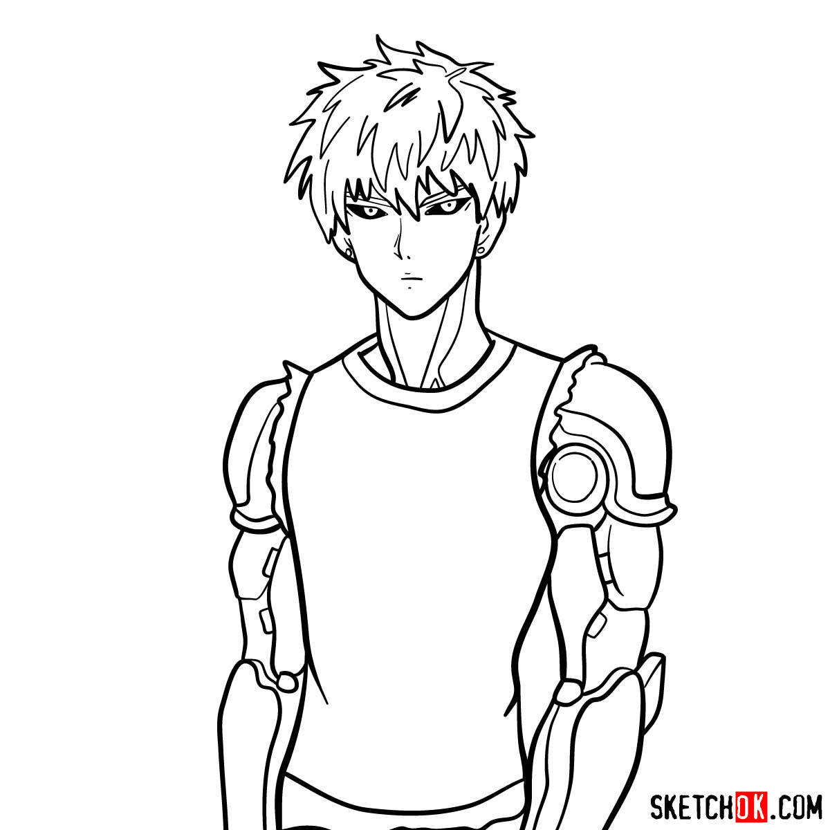How to draw Genos (Demon Cyborg) | One-Punch Man