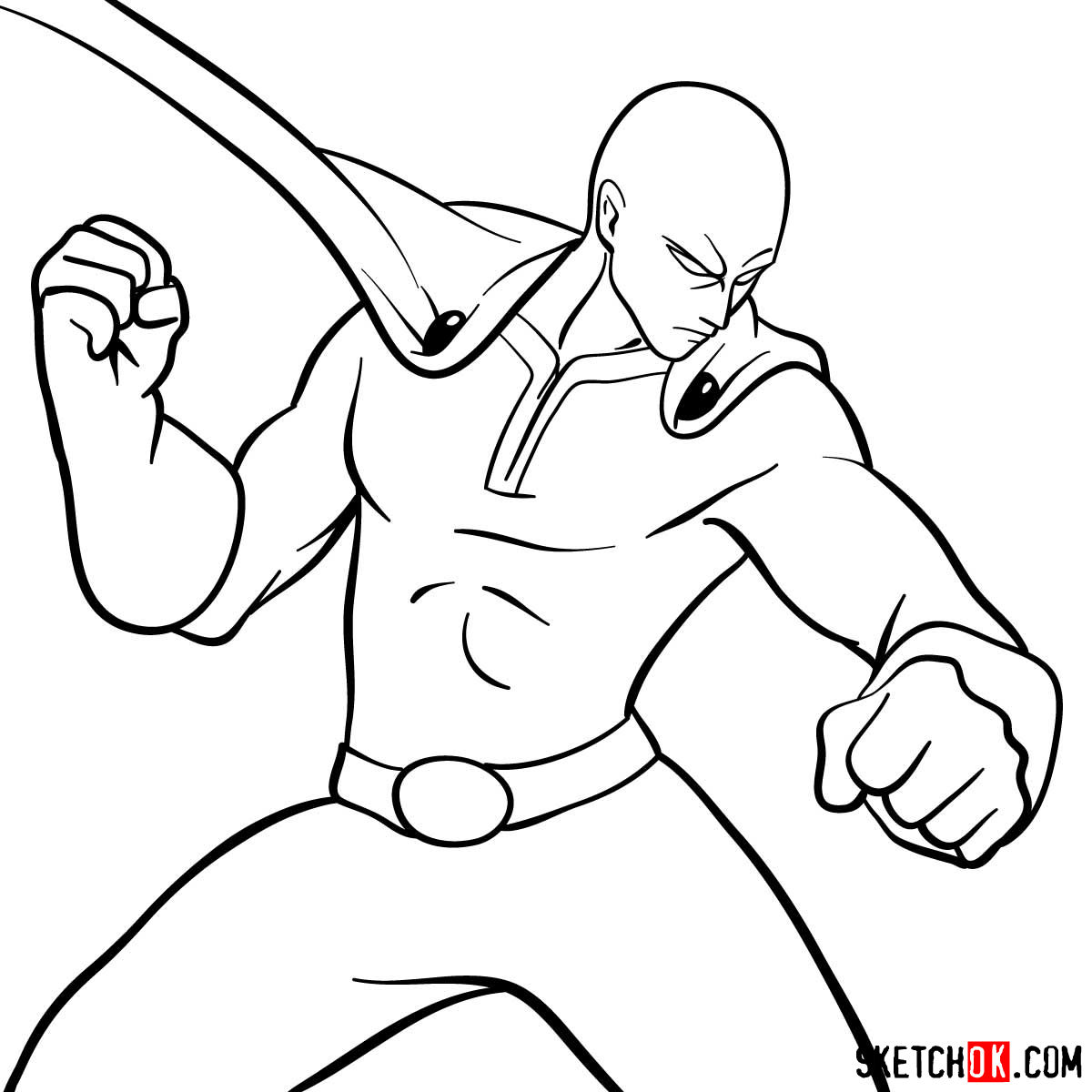How to draw fighting Saitama in 12 steps