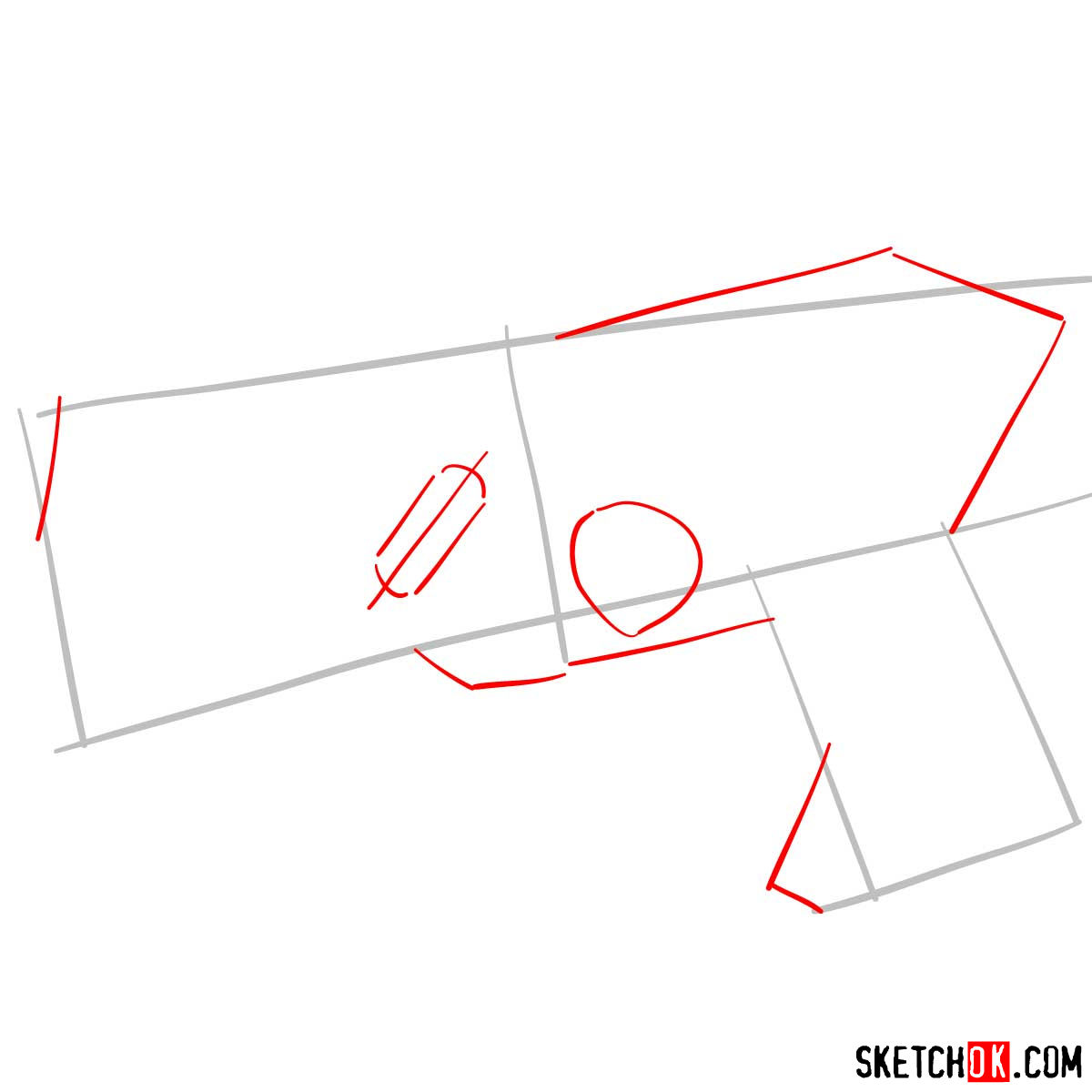 How to draw The Dominator gun | Psycho Pass - step 02