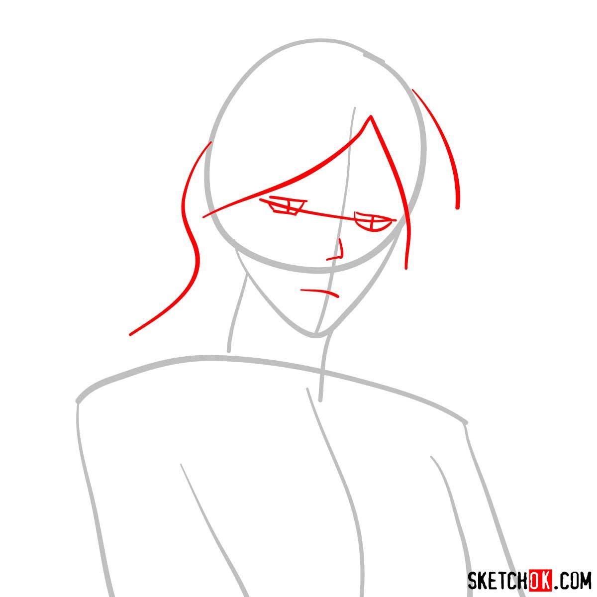 How to draw Shion Karanomori | Psycho Pass - step 02