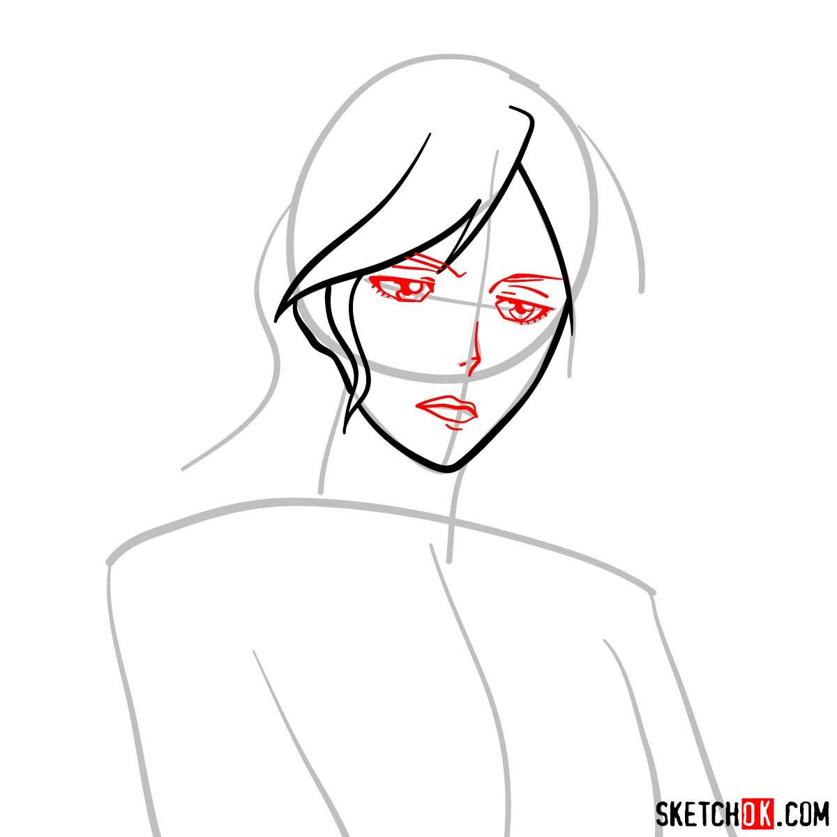 How to draw Shion Karanomori | Psycho Pass - step 04