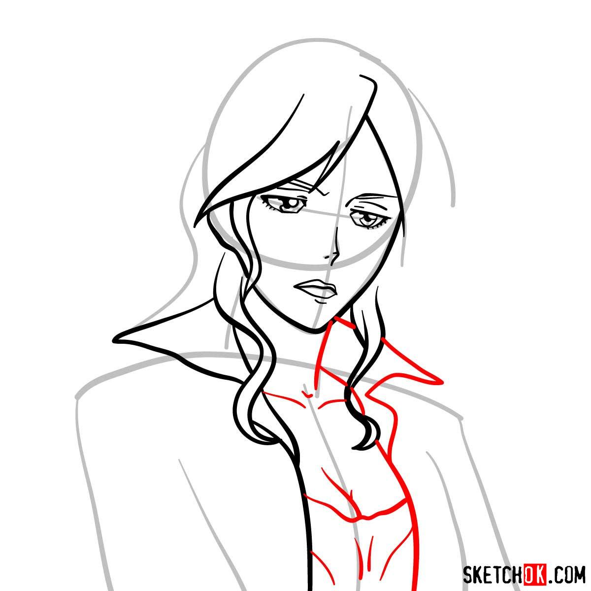 How to draw Shion Karanomori | Psycho Pass - step 06