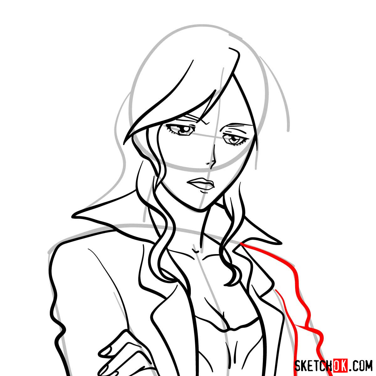 How to draw Shion Karanomori | Psycho Pass - step 08